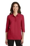 Women's Silk Touch 3/4-sleeve Polo Shirt Red Thumbnail