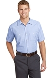 Short Sleeve Striped Industrial Work Shirt White with Blue Thumbnail