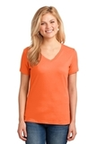 Women's 5.4-oz 100 Cotton V-neck T-shirt Neon Orange Thumbnail