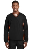 Tipped V-neck Raglan Wind Shirt Black with Deep Orange Thumbnail