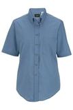 Women's Button Down Poplin Shirt SS Denim Blue Thumbnail