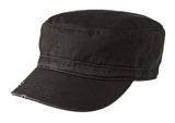 Distressed Military Hat Black Thumbnail