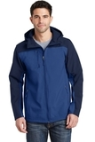 Hooded Core Soft Shell Jacket Night Sky Blue with Dress Blue Navy Thumbnail