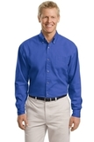Tall Long Sleeve Twill Shirt Faded Blue Thumbnail
