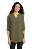 Women's 3/4-Sleeve Tunic Blouse Deep Olive Thumbnail