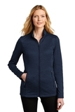 Ladies Collective Striated Fleece Jacket River Blue Navy Heather Thumbnail
