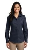 Women's Long Sleeve Carefree Poplin Shirt River Blue Navy Thumbnail