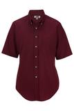 Women's Button Down Poplin Shirt SS Wine Thumbnail