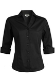 V-neck 3/4 Sleeve Tailored Blouse Black Thumbnail