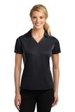 Women's Side Blocked Micropique Polo Shirt Black with Iron Grey Thumbnail