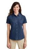 Women's Short Sleeve Value Denim Shirt Ink Blue Thumbnail