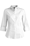 3/4 Sleeve Stretch Broadcloth Blouse White Thumbnail