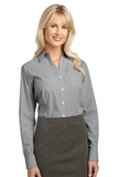 Women's Plaid Pattern Easy Care Shirt Charcoal Thumbnail