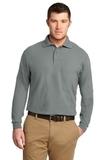 Silk Touch Long Sleeve Polo Shirt Cool Grey Thumbnail