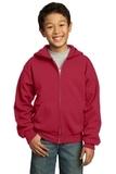 Youth Full-zip Hooded Sweatshirt Red Thumbnail