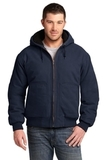 Washed Duck Cloth Insulated Hooded Work Jacket Navy Thumbnail