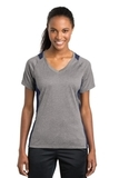 Women's Heather Colorblock Contender V-neck Tee Vintage Heather with True Navy Thumbnail