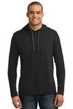 100 Ring Spun Cotton Long Sleeve Hooded T-shirt Black with Dark Grey Thumbnail