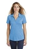 Women's Tri-Blend Wicking Polo Pond Blue Heather Thumbnail