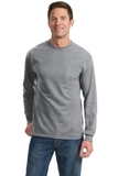 100 Cotton Long Sleeve T-shirt With Pocket Athletic Heather Thumbnail