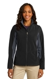 Women's Corevalue Colorblock Soft Shell Jacket Black with Battleship Grey Thumbnail