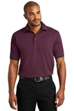 Dry Zone Colorblock Ottoman Polo Shirt Maroon with Black Thumbnail