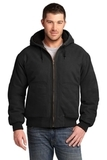 Washed Duck Cloth Insulated Hooded Work Jacket Black Thumbnail