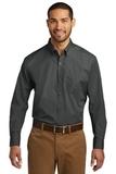 Port Authority Long Sleeve Carefree Poplin Shirt Graphite Thumbnail