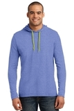 100 Ring Spun Cotton Long Sleeve Hooded T-shirt Heather Blue with Neon Yellow Thumbnail