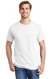 Tagless 100 Comfortsoft Cotton T-shirt With Pocket White Thumbnail