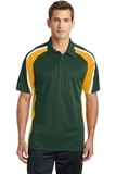 Tricolor Micropique Color Block Polo Forest Green with Gold and White Thumbnail