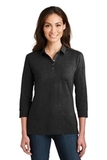 Women's 3/4Sleeve Meridian Cotton Blend Polo Black Thumbnail