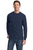 100 Cotton Long Sleeve T-shirt With Pocket Navy Thumbnail
