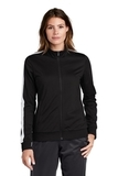 Ladies Tricot Track Jacket Black with White Thumbnail