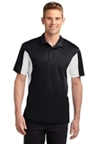 Side Blocked Performance Micropique Polo Shirt Black with White Thumbnail