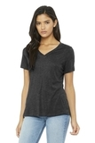 BELLA+CANVAS Women's Relaxed Jersey Short Sleeve V-Neck Tee Charcoal Black Triblend Thumbnail