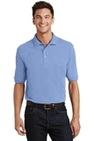 Pique Knit Polo Shirt With Pocket Light Blue Thumbnail