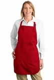 Full Length Apron With Pockets Red Thumbnail
