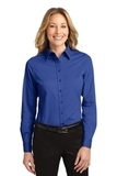 Women's Long Sleeve Easy Care Shirt Royal with Classic Navy Thumbnail