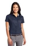 Women's Short Sleeve Easy Care Shirt Navy with Light Stone Thumbnail