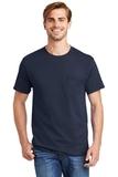 Tagless 100 Comfortsoft Cotton T-shirt With Pocket Navy Thumbnail