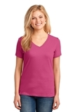 Women's 5.4-oz 100 Cotton V-neck T-shirt Sangria Thumbnail