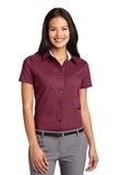 Women's Short Sleeve Easy Care Shirt Burgundy with Light Stone Thumbnail