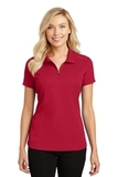 Women's Pinpoint Mesh Zip Polo Rich Red Thumbnail