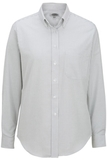 Women's Dress Button Down Oxford LS Grey Stripe Thumbnail