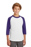 Youth Colorblock Raglan Jersey White with Purple Thumbnail