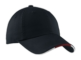 Sandwich Bill Cap With Striped Closure Classic Navy with Red and White Thumbnail