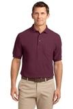 Tall Silk Touch Polo Shirt With Pocket Burgundy Thumbnail