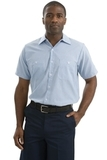 Long Size Short Sleeve Striped Industrial Work Shirt White with Blue Thumbnail