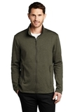Collective Striated Fleece Jacket Deep Olive Heather Thumbnail